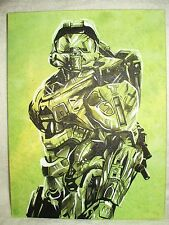 Canvas Painting Halo Master Chief B Green B&W 16x12 inch Acrylic