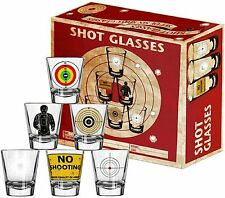 Shot Glasses - 6 Piece Shot Glass Set of Targets and Bullet Holes
