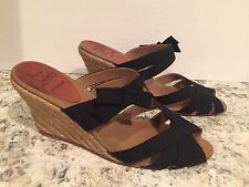 Christian Louboutin Delfin Sandals Wedge Espadrille Ribbon Black 39/8.5-9 Nice