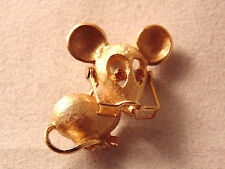 Avon Orange Rhinestone Eyes Mouse with Moving 3D Glasses Lapel Pin