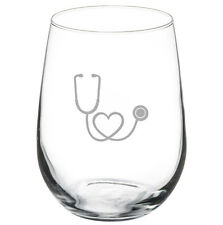 Stemless Wine Glass Goblet 17oz Heart Stethoscope Nurse