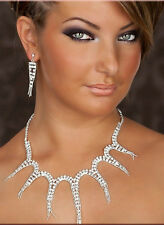 Gorgeous! New Unique Bridal Crystal Rhinestone NECKLACE & EARRINGS SET 733