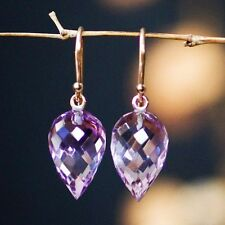 Solid 14k.    Intense Violet African Amethyst  Earrings W/ leather box