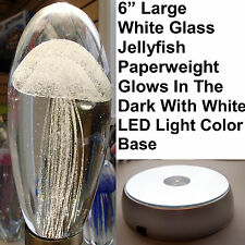 "Large White Glass Jellyfish 6"" Glow In The Dark Paperweight White LED Base Stand"