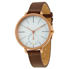 Skagen Hagen White Dial Brown Leather Ladies Watch SKW2356