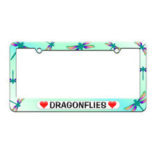 Dragonflies Love with Hearts License Plate Tag Frame Dragonflies Design
