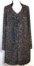 Elie Tahari Black w/Brown Animal Print Polyester Zip-Front Dress L