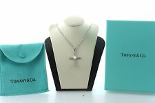 """Tiffany & Co Iridesse Sterling Silver 925 Pearl & Diamond Cross Necklace - 18"""""""
