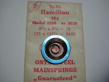 HAMILTON  P/W MAIN SPRING #1228 / 3028   12s    ( .175mm )   & MOTOR BARREL