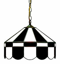 "Black and White 16"" Stained Glass Poker Table Light"