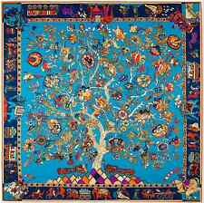 "Large Square Silk Scarf Twill Shawl Blue Gold Lucky Tree Horse 52""x52""~130x130cm"