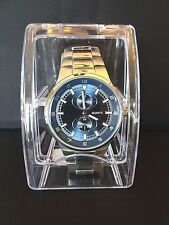 New Geneva Quartz Wristwatch - Silver with Blue Face Watch