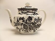 Asiatic Pheasant Black Transferware Tea Pot With Lid Made In England, Mint Cond.