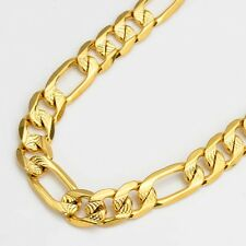 "24k Yellow Gold Filled Mens Necklace Charms Link 24"" Chain Fashion Jewelry"