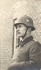 WWII German RP- Portrait- Army Officer- Helmet- Eagle Decal- Overcoat- 1940s