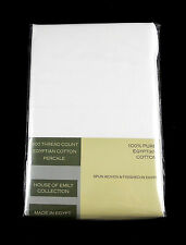 King Size Egyptian Cotton Percale Duvet Quilt Cover Set 400 Thread Count White
