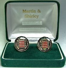 1967 Threepence cufflinks  real coins in Black & Gold