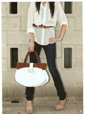 JJ Winters WhiteLeather & Rust Suede Buckle Tote Brooke Style #366 BNWT FAB!