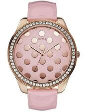 GUESS PINK LEATHER BAND&PINK DIAL CRYSTAL ACCENTED POLKA DOT GOLD WATCH-W0258L3