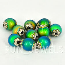 10pcs/pack Magical Color Change Mood Beads - 14x12 Oval W/Silver designs on ends