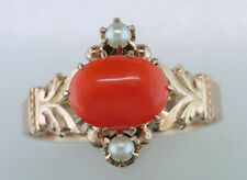 Vintage Antique Coral & Pearl 14K Yellow Gold Victorian Cocktail Ring