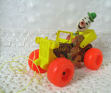 Fisher Price Vintage 1960s Clicker Pull Toy Clown Driving Jalopy Wood & Plastic