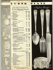 1934 PAPER AD Tudor Plate Silverware Spoons Forks Queen Bess Barbara Design