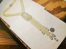 FANTASTIC BEAUTIFUL FAUX PEARL CRYSTAL GLASS DANGLING RUNWAY NECKLACE--VINTAGE