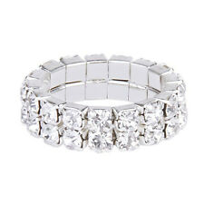 Elastic Silver Tone 2 Row Rhinestone Toe Ring Bridal Jewelry PS