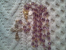 TRANSPARENT LT AMETHYST PURPLE  CRYSTAL -18K GOLD PLATED ROSARY