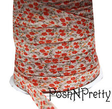 Designer 3 Yards 5/8 Print Fold Over Elastic Stretch FOE - Autumn Poppies Flower