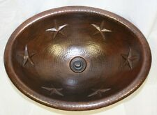 "19"" Oval Copper Vessel Vanity Sink with Texas Star Design"