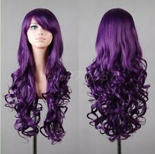 Women Anime Lotita Long Purple Wigs Curly Fashion Lady Wig Cosplay Wig Party Wig