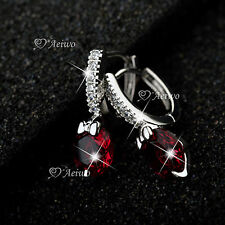 18K WHITE GOLD FILLED MADE WITH SWAROVSKI CRYSTAL EARRINGS 2CT RUBY RED HUGGIES