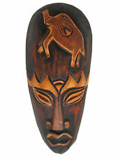 "Hand Carved African Tribal Wooden Mask, Family, 8"" #FET-SMM-K"