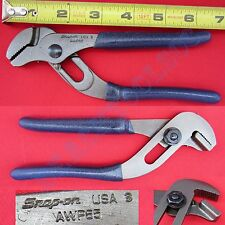 "New Snap On Blue Handle Straight Serrated Jaws Adjustable Joint Pliers 7"" AWP65"