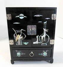 Vtg Chinese Black Lacquer Footed Wood Jewelry Box  Mother of Pearl Inlay Abalone