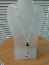 A Purple Glass & Crystal Pendant Drop on A Silver Chain