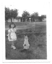 Little Girl Sober Faced Apron Dress vintage photo Pet Cat 1950s snapshot