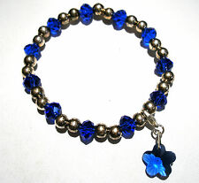 'AAA' GRADE BLUE CRYSTAL GLASS BEADED STRETCH FLOWER CLIP CHARM BRACELET