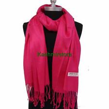 Pretty NEW Solid 100%Pashmina Wrap Stole Cashmere Wool Shawl/Scarf Hot Pink #W01