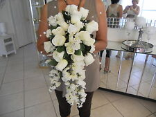 Cascading custom design wedding bouquet free boutinieres with purchase