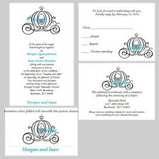 100 Personalized Custom Disney Carriage Cinderella Wedding Invitations Cards Set