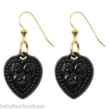 Tarina Tarantino Starlet Lamour Black Lucite Heart Earrings *Made in California*