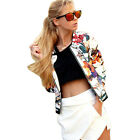 Fashion Women Coat Floral Printed Embroidery Long Sleeve Short Outwear Jacket