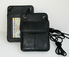 Black Leather ID Badge Card Holder Wallet Neck Strap Travel Work Pouch