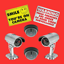 4 Dummy SECURITY LED CAMERA + 2 Warning Signs Motion Activated Light System CCTV