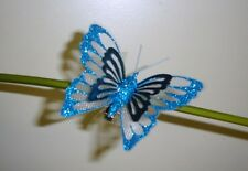 "Pack 6 Metallic Clip on Butterfly Christmas Decorations Blue 3"" Size"