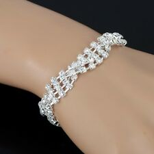 RF Silver Plated Clear Crystal Chain Bracelet Charm Wedding Bridal Party Jewelry