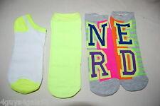 Jr Womens Socks 3 PR LOT Gray NEON YELLOW GREEN Side By Side NERD Hot Pink 4-10